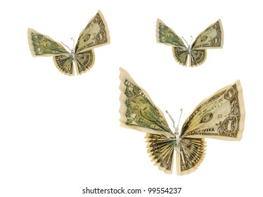A dollar flying of origami butterfly