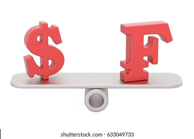 Dollar or Franc, balance concept. 3D rendering isolated on white background
