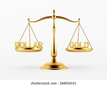 Dollar and Gold Justice Scale Concept isolated on white background