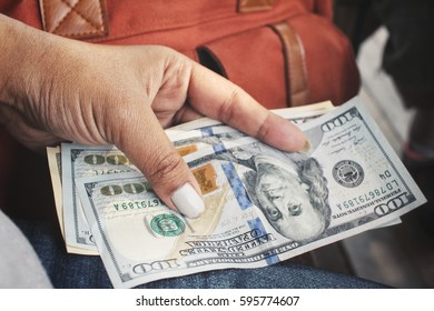 Dollar with hand and bag
