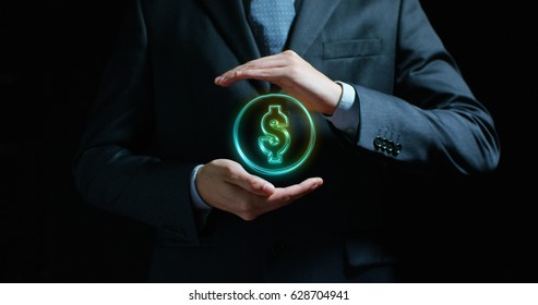 Dollar in the hands of an experienced seller or bank or insurance broker Concept: for investment and passive income, for retirement and annuities also the concept of insurance or bank, currency growth