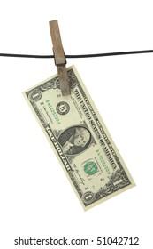 Dollar hang on clothes-peg
