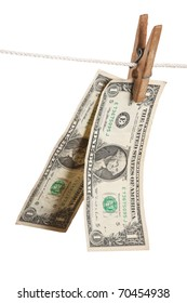 dollar is hanging on a wooden clothespin isolated on white background