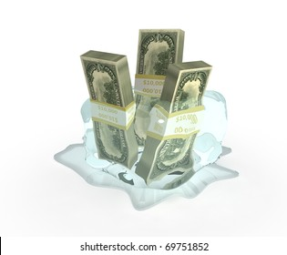 dollar in ice isolated on white