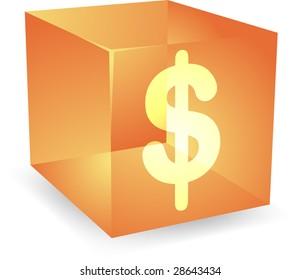Dollar icon on translucent cube shape illustration