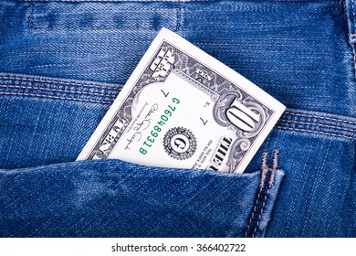 dollar in the jeans pocket
