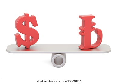 Dollar or Lira, balance concept. 3D rendering isolated on white background