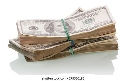 Dollar Money bills on white background