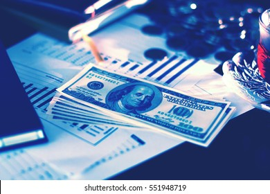 Dollar Money and graph business on table, success and profitable business concepts, Financial and business concept, Economic report