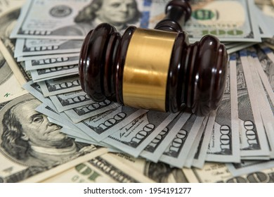 dollar money and judges gavel on table. Judgement and bribe. corruption