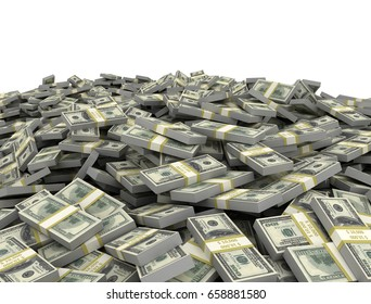 Dollar money pile isolated on white background. 3d render