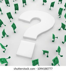 Dollar money symbol cartoon characters around question mark, 3d illustration, horizontal, over white