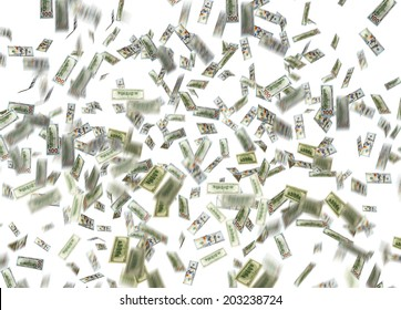 dollar note falling down over white background