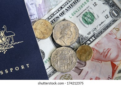 Dollar Notes, Coins and Australian Passport