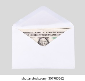 dollar notes in envelope on white background