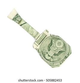 Dollar origami guitar isolated on white background. Moneygami.