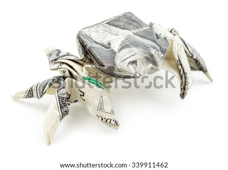 Dollar Origami Spider Isolated On White Stock Photo Edit Now