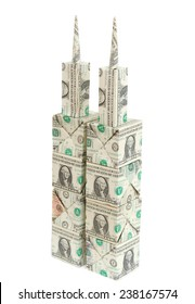 dollar origami tower on white