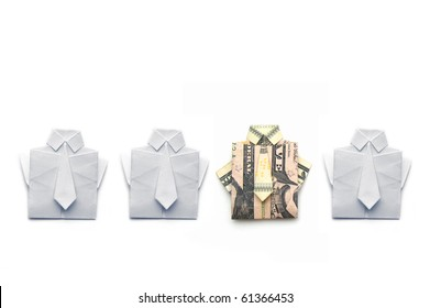 dollar and paper folded origami style into a shirt and tie