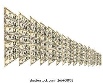 dollar pattern with abstract plate isolated and diminishing in size