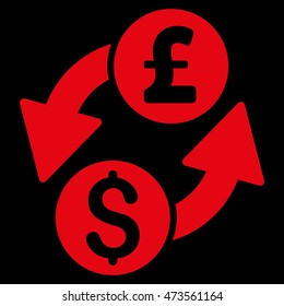 Dollar Pound Exchange icon. Glyph style is flat iconic symbol with rounded angles, red color, black background.