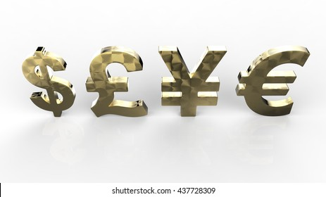 Dollar ,Pound, Yen and Euro Currency in Gold 3D Rendering