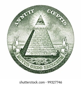 Dollar pyramid on white background macro