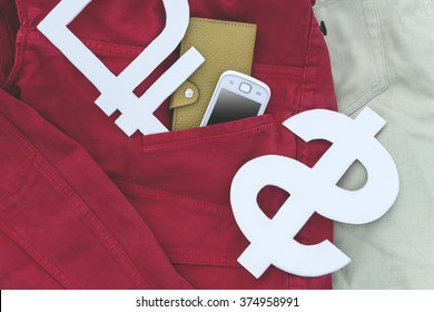 Dollar and ruble characters with a smartphone in your pocket jeans with a red tint