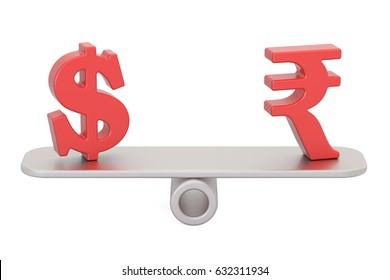 Dollar or Rupee, balance concept. 3D rendering isolated on white background