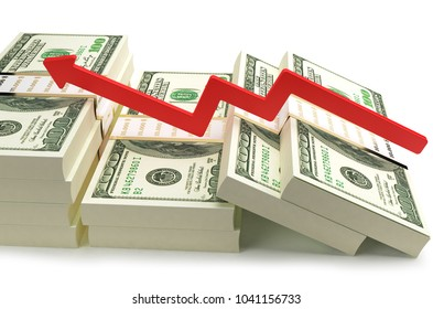 Dollar Satck With Red Graphic Icone On White.With Clipping Path