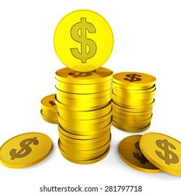 Dollar Savings Indicating American Dollars And Financial