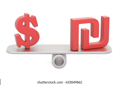 Dollar or Shekel, balance concept. 3D rendering isolated on white background