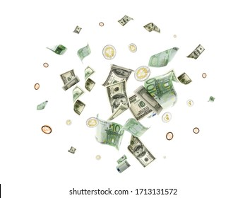 Dollar sign. American money. Cash background, us bill. Euro money, Bitcoin Cryptocurrency falling on white