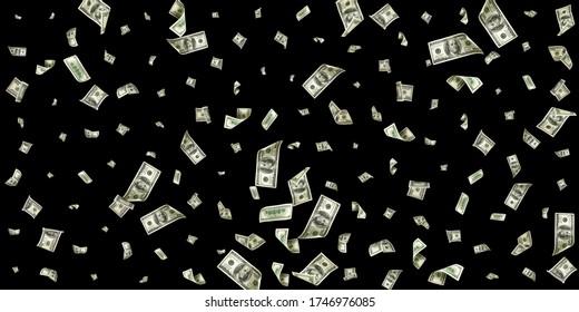 Dollar sign. American money. Cash black background, us bill. Money falling. - Shutterstock ID 1746976085