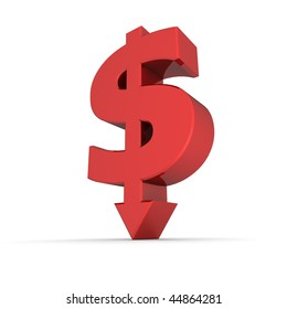 dollar sign with arrow down stands on white ground - shiny red color