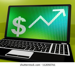 Dollar Sign And Up Arrow On Laptop Shows Earnings Or Profit