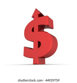 dollar sign with arrow up stands on white ground - shiny red colour