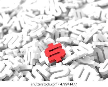 Dollar sign background 3d rendering, abstract financial and banking concept