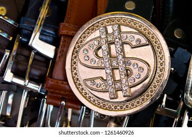 Dollar sign bling belt buckle