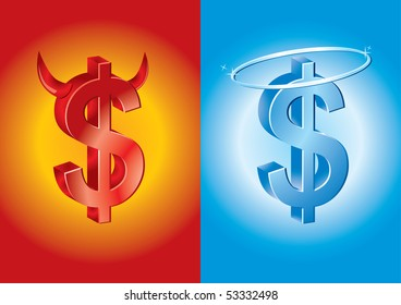 dollar sign as devil and angel - jpg license, vector available in portfolio