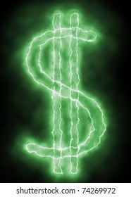 dollar sign - green lightning spark on black background