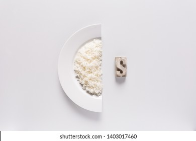 Dollar sign with a half plate of rice dish Presented as a financial graph, exchange business concept, and equality