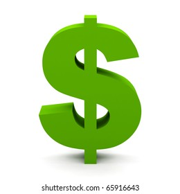 Dollar sign isolated on white.