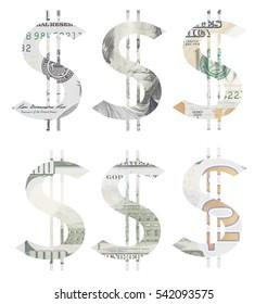 dollar sign made of cut hundred dollar bill set