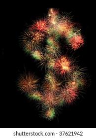 Dollar sign made of fireworks on black background