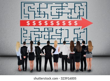 Dollar sign maze and business team thinking solution