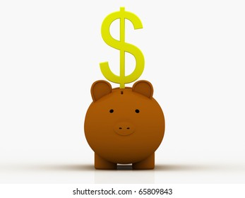 dollar sign standing over the pig bank