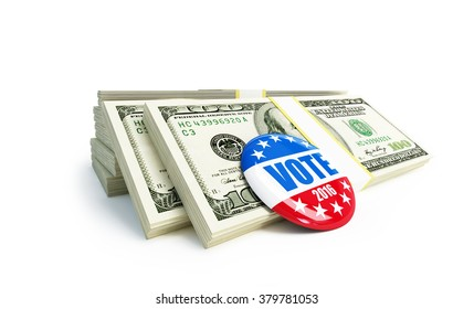 dollar sign vote USA 2016 badge 3d Illustration on a white background