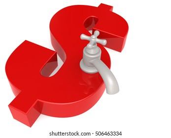 Dollar sign with water faucet, 3D rendering