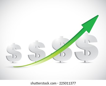dollar signs and up arrow illustration design over a white background